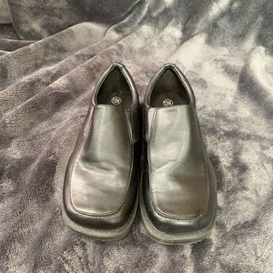 Boys black slid on dress shoes